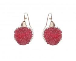 Red Druzy Stone Wire Wrap Hook Earrings