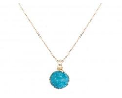 Aqua Druzy Stone Wire Wrap Necklace