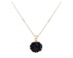 Black Druzy Stone Wire Wrap Necklace