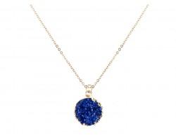 Blue Druzy Stone Wire Wrap Necklace