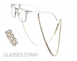 Gold Clear Crystal 3mm 2 Row Eyeglass Strap