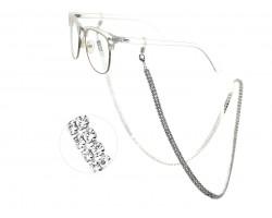 Silver Clear Crystal 3mm 2 Row Eyeglass Strap