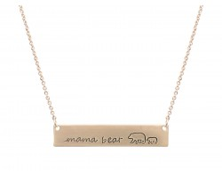 Gold Mama Bear Cub Bar Message Necklace
