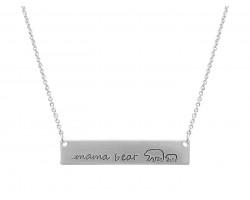 Silver Mama Bear Cub Bar Message Necklace