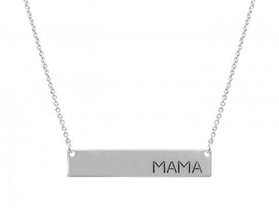 Silver Mama Bar Message Necklace