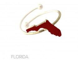 Burgandy Gold Florida State Map Wire Ring.