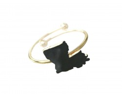 Black Gold Louisiana State Map Wire Ring