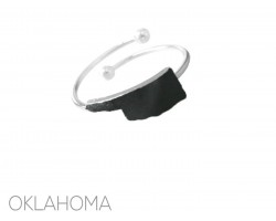 Black Oklahoma State Map Silver Wire Ring