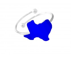 Blue Texas State Map Silver Wire Ring