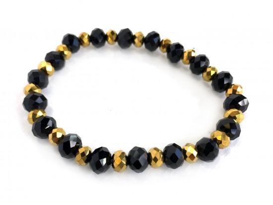 Black Gold Crystal Rondell Stretch Bracelet