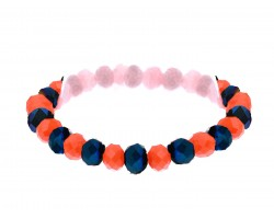 Blue Orange Crystal Rondell Stretch Bracelet