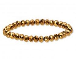 Gold Crystal Rondell Stretch Bracelet