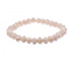 Light Peach Crystal Rondell Stretch Bracelet