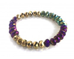 Mardi Gras Metalic Crystal Rondell Stretch Bracelet