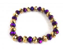 Purple Gold Crystal Rondell Stretch Bracelet