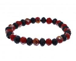 Red Black Crystal Rondell Stretch Bracelet
