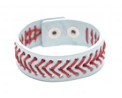 White Baseball Theme Leather Snap Bracelet