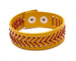 Yellow Softball Theme Leather Snap Bracelet