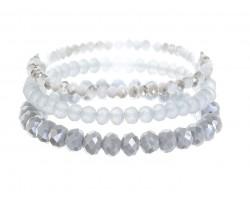 Gray Crystal Stretch Bracelets 3 Set