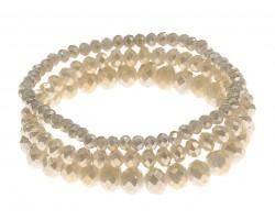 Beige Crystal Stretch Bracelets 3 Set
