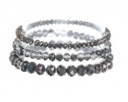 Hematite Crystal Stretch Bracelets 3 Set
