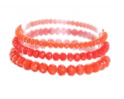 Orange Crystal Stretch Bracelets 3 Set