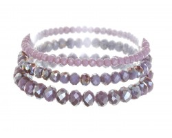 Purple Opal Crystal Stretch Bracelets 3 Set