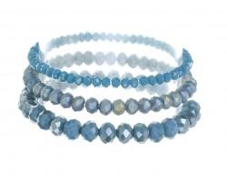 Teal Blue Crystal Stretch Bracelets 3 Set