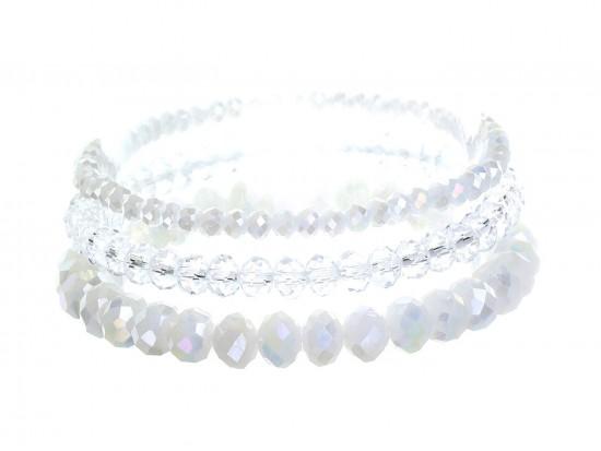 White Crystal Stretch Bracelets 3 Set