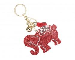 Red Elephant Crystal Puffy Key Chain