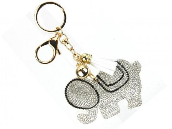 White Elephant Crystal Puffy Key Chain