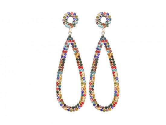 Multi Crystal Teardrop Dangle Post Earrings