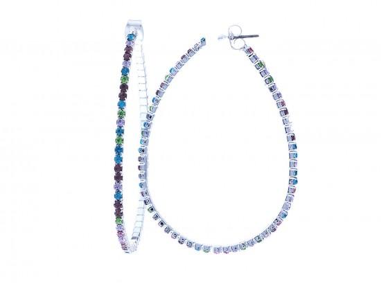 Light Multi Crystal Teardrop Hoop Post Earrings