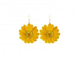 Orange Crystal Daisy Flower Gold Hook Earrings