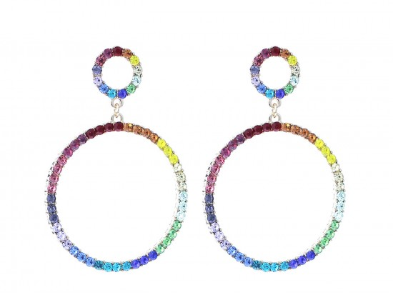 Gold Multi Crystal Circle Dangle Post Earrings
