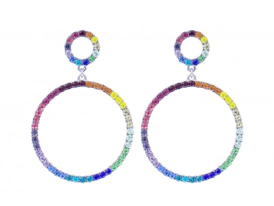 Silver Multi Crystal Circle Dangle Post Earrings