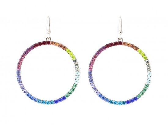 Gold Multi Crystal Circle Hook Earrings