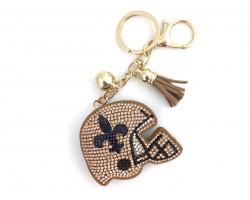 Black Gold Crystal Fleur De Lis Football Helmet Puffy Key Chain