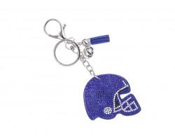 Blue Crystal Football Helmet Puffy Key Chain