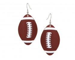Brown Football Leather Hook Earrings