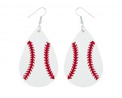 White Baseball Teardrop Leather Hook Earrings