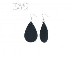 Black Teardrop Leather Hook Earrings