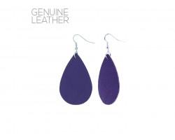 Purple Teardrop Leather Hook Earrings