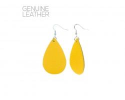 Yellow Teardrop Leather Hook Earrings