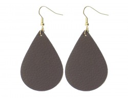 Brown Teardrop Leather Hook Earrings
