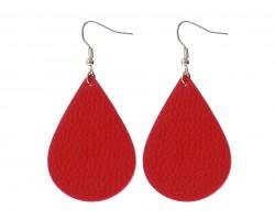 Red Teardrop Leather Hook Earrings