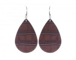 Dark Brown Teardrop Leather Hook Earrings