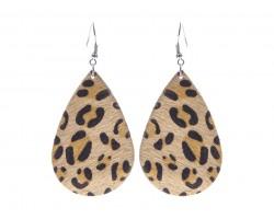 Brown Leopard Teardrop Leather Hook Earrings