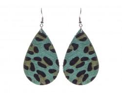 Green Blue Leopard Teardrop Leather Hook Earrings