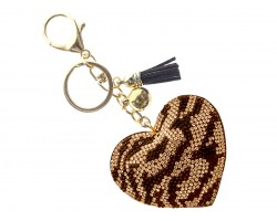Golden Brown Animal Print Crystal Heart Puffy Key Chain